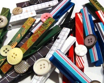 Decorated Clothespins With Button Embellishment, Sets of 4