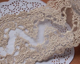 "2 Yards Lace Trim Fabric Gold Embroidery Wedding Fabric DIY Handmade 5.11"" width"