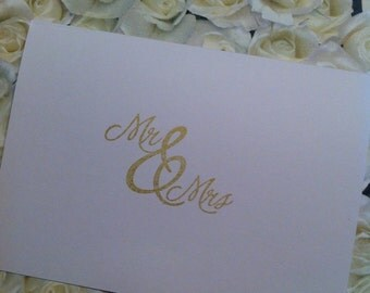 Set of 50 Mr & Mrs Wedding Thank You Cards
