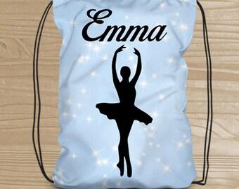 Personalized Drawstring Backpack - Dance Backpack for Girls - Ballet Dance Bag - Ballerina Drawstring Backpack