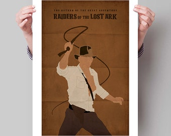 "INDIANA JONES Inspired Raiders of the Lost Ark Minimalist Movie Poster Print - 13""x19"" (33x48 cm)"
