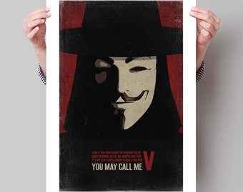 "V FOR VENDETTA Inspired Minimalist Movie Poster Print - 13""x19"" (33x48 cm)"