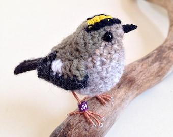 Goldcrest realistic British bird fibre art sculpture
