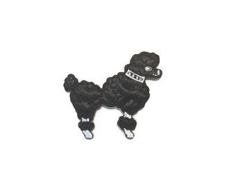 Black Satin Poodle Applique, Dog Applique, Poodle Applique