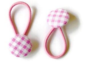 pink hair ties, Pink ponytail ties, hair tie buttons , plaid hair ties