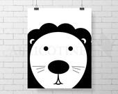 Collection Noir et Blanc, Affiche murale, Chambre d'enfants, Impression Epson, illustration animal, lion