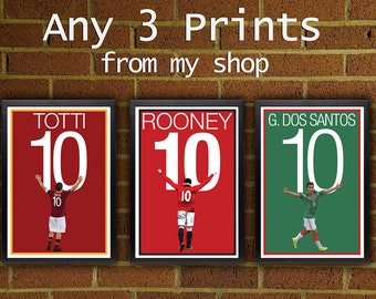 Any 3 Prints - Pick Your Size posters from my shop  -  art, wall decor, home decor, soccer, football, futbol