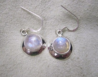 Goddess Gems -  Halo around the Moon Rainbow Moonstone sterling earrings to wear as Sacred Adornment