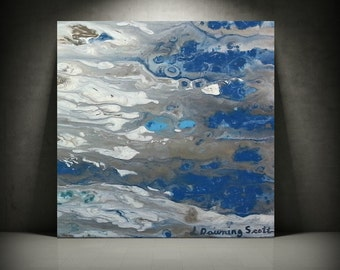 ORIGINAL Painting, Art Painting Acrylic Painting Abstract Painting, Blue Painting Wall Hanging, Small Wall Art, Modern Wall Decor 12 x 12