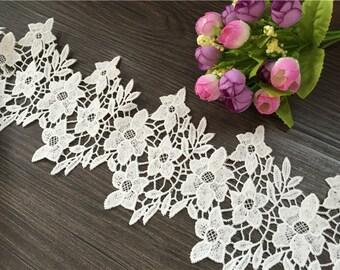 cotton lace trim white bridal lace crochet lace fabric trim daisy lace trim antique lace