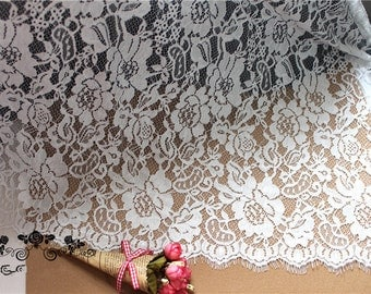 3.3yards French Lace Fabric , Chantilly Lace Trim, France Lace Trim, White Lace Trim 150cm wide