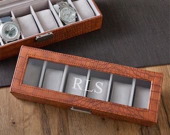 Personalized Watch Box - Engraved Men's Watch Box - Brown Leather Watch Case - Groomsmen Gifts - Gifts for him - Gifts for Dad - GC1299