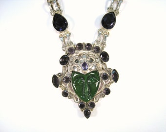39.36 CTW Amethyst & Carved Bali Goddess Necklace - 925 Sterling Silver