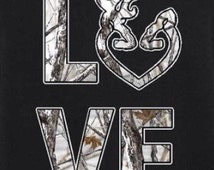 Buck and doe white camouflage country love heart T-shirt
