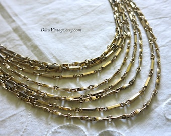 Vintage Multi Chain Necklace, Gold tone, Chain Necklace, Nine Strand Necklace, Multi Strand Necklace, Long Necklace, Patterned Chain
