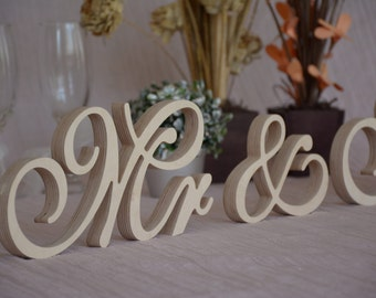Script Wooden letters  Mr &Mrs  set wedding table decor. Mr and Mrs head table sign for wedding. Photo Prop. Wedding signage. Glitter sign.