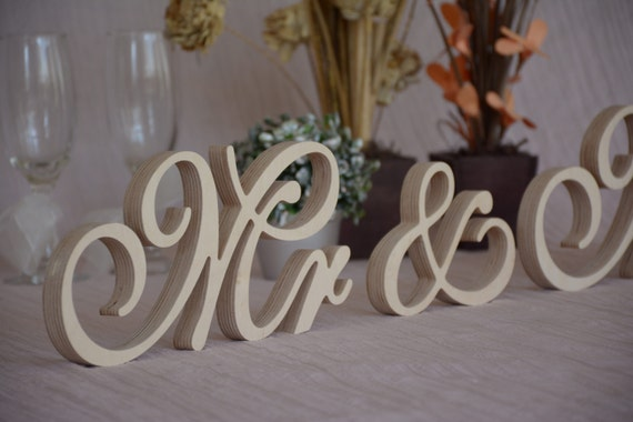 Script wooden letters mr mrs set wedding table decor