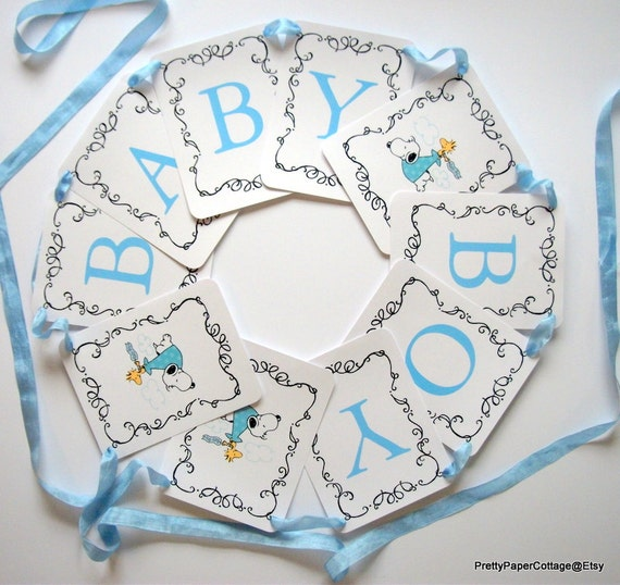 snoopy baby shower banner baby boy blue baby girl pink gender