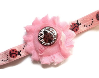 Ladybug Headband - Lady Bug Headband for Girls - Light Pink Flower Head Band - Shabby Flower Headband - Cute Bug Headband for Baby Girl