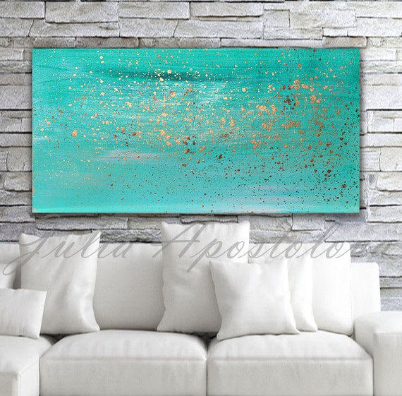 Turquoise Home Accessories: Turquoise Painting Minimalist Painting Print By