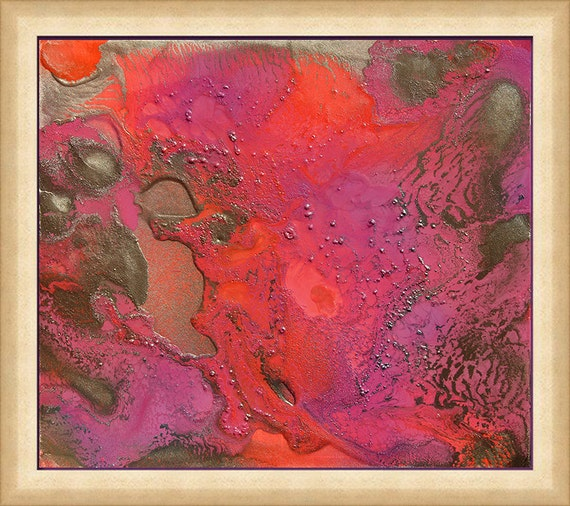 Abstract Canvas Art Pink and Gold Print