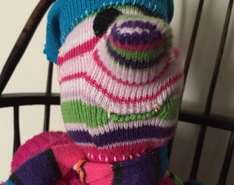Stuffed Sock Critter; Quirky Handmade Sock Animal Made from Recycled Materials ; OOAK; Baby-Safe  (Jubilee-Lee)