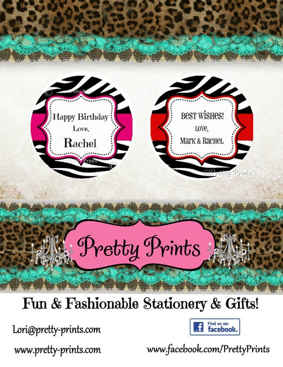 Zebra Print Stickers - Personalized Stickers -  Set of 12 Round Labels - Personalized Labels - Tags - School Stickers