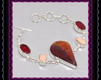 Australian Mookaite, Garnet, Biwa Pearl  Bracelet