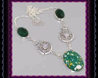 Mosaic Jasper & Chrome Diopside Necklace