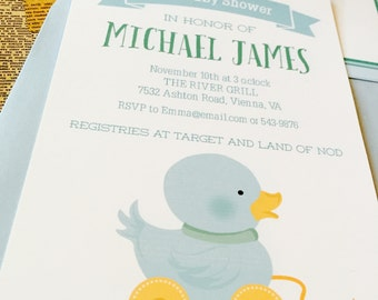 Blue Ducky Baby Shower Invitation   Custom Baby Invitation   Blue Ducky Personalized Baby Invitation   Available Blank to Customize Yourself