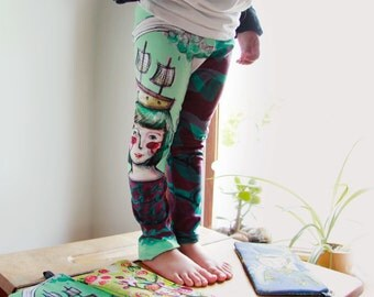 Baby leggings, Sea dreamer, boat lover, original illustration by Kim Durocher, printed on polyester spandex fabric.