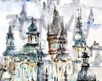 SALE!  Prague Dome. Print from original art.