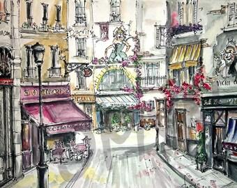 SALE! One time in PARIS. ROMANTIC  Paris. Charming  Cafe. France Art print. Paris Print.Print  from  original watercolor.
