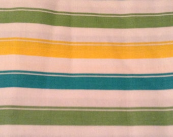 "2 yds 17"" Green, Teal and Yellow Striped Cotton"