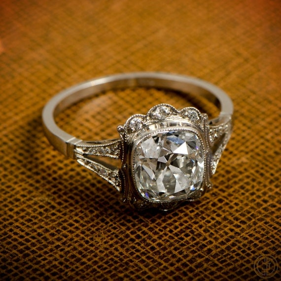 Vintage Engagement Ring 1 53ct Old Mine Diamond Handmade Platinum Mounting