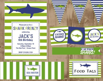 Green Cabana Stripe Shark Printable Party Set- green and navy blue