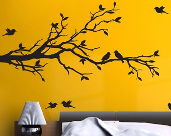 "78""x37"" Tree Branch with 10 Birds Wall Decals Sticker Nursery Decor Art Mural -  FREE SHIPPING!"
