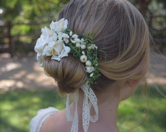 Bun Wreath Flower Crown in Ivory with moss, berries and parchment roses - Flower Girl Bun Halo - Woodland Bun Wreath