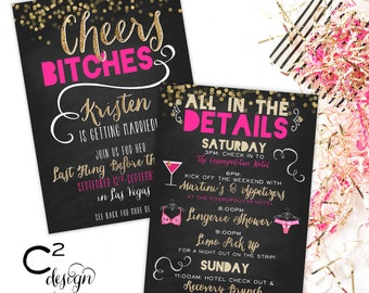 Cheers Bitches Pink/Gold Bachelorette Invitation with Itinerary