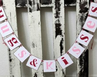 Valentine Banner Garland Hugs & Kisses Shabby Chic Red And Pink Banner Wedding Banner Romantic Banner Wedding Photo Prop Garland