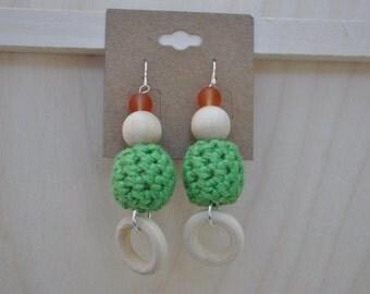Beaded Earrings - Crochet Jewelry - Green - Orange