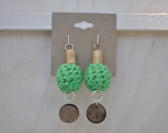 Earrings - Crochet Jewelry - Green