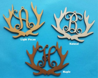 Wood Deer Hunter Monogram Ornament