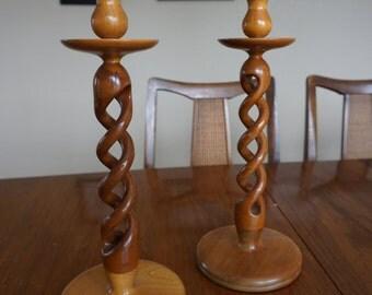 Vintage Barley Twist Candle Sticks