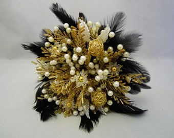 Bridesmaids bouquet in gold and ivory with black feather collar. Beaded bouquet, feather bouquet, brooch alternative