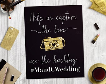 Wedding Hashtag PRINTABLE Art / Custom wedding hashtag sign / Hashtag Printable / Wedding Hashtag Print Sign / Use Your Wedding Colors