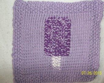 Purple Pop Cycle Hand Knitted Wash/Dish Cloth