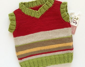 Hand knitted - baby tank top in green and red, with stone, fudge and yellow stripes, babies stripey jumper