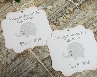 Girl baby shower favor tags, Elephant Baby shower tags, Personalized baby shower thank you tag,  Elephant baby shower gift tag