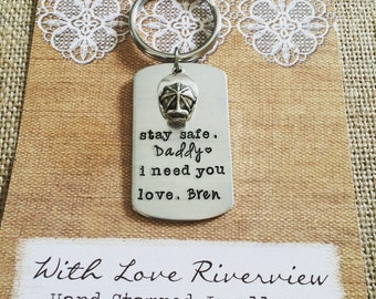 Firefighter Daddy Keychain, Hand stamped, Personalized